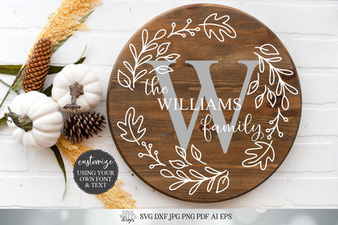 Fall Monogram Wreath | Customize With Your Monogram and Last Name | Cutting File and Printable | SVG DXF and More SVG Diva Watts Designs