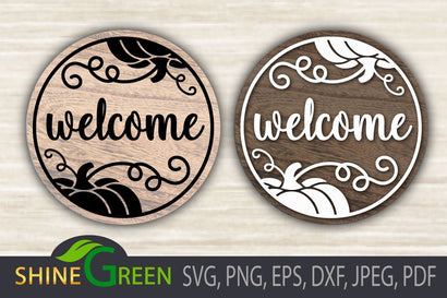 Fall SVG - Welcome Pumpkin - Round Wood Sign SVG Design SVG Shine Green Art