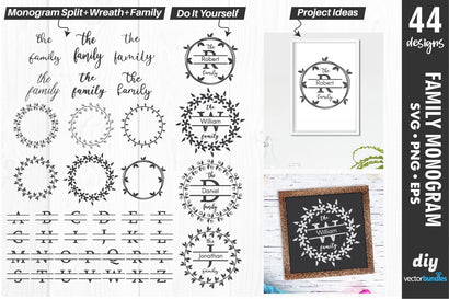 Family monogram maker with split text svg SVG vectorbundles