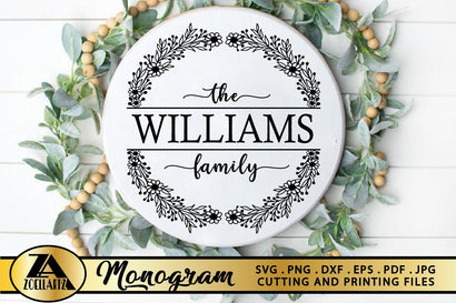 Family Monogram SVG Family Name SVG Farmhouse Wreath SVG SVG zoellartz