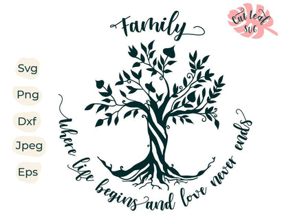 Family tree svg, tree svg, family svg, tree of life svg, tree of life clipart, family svg sayings, family tree dxf, family quotes svg SVG CutLeafSvg