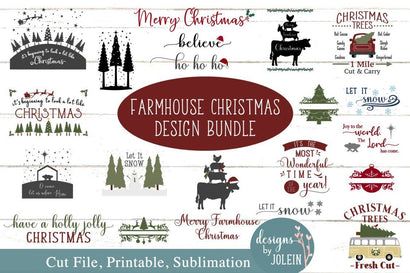 Farmhouse Christmas Bundle of Designs SVG Designs by Jolein