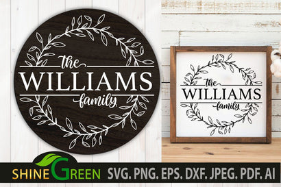 Farmhouse Family Monogram SVG Flower Wreath Frame SVG Shine Green Art