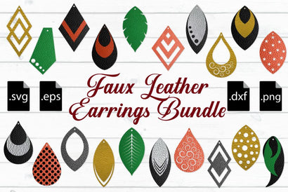 Faux Leather Earrings Bundle SVG Craft Pixel Perfect
