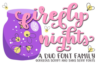 Firefly Nights - A Duo Font Family - Pretty Script Font Dez Custom Creations