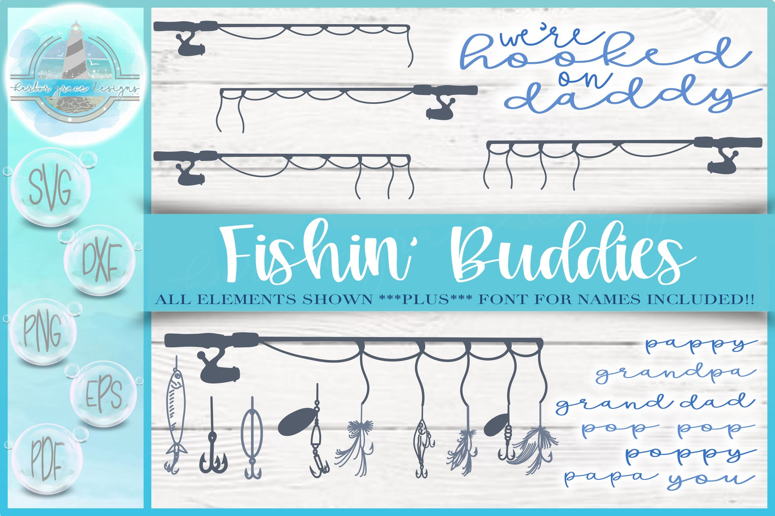 Download Fishing Buddies Rod Lures Bundle Svg Dxf Eps Pdf Png Files For Cricut Silhouette Laser Sublimation Commercial Use Font Included So Fontsy