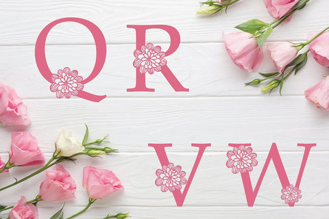 Floral Alphabet Svg Monogram set A to Z SVG DIYCUTTINGFILES