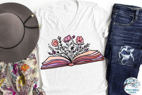 Floral Book Sublimation PNG Sublimation Wispy Willow Designs