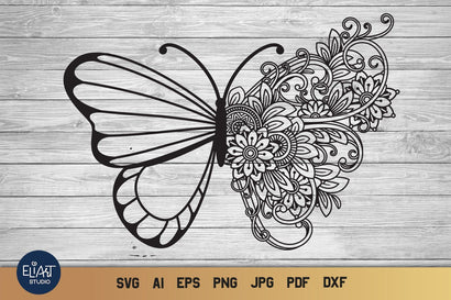 Floral Butterfly SVG, Zentangle Butterfly SVG with Flowers. SVG Elinorka