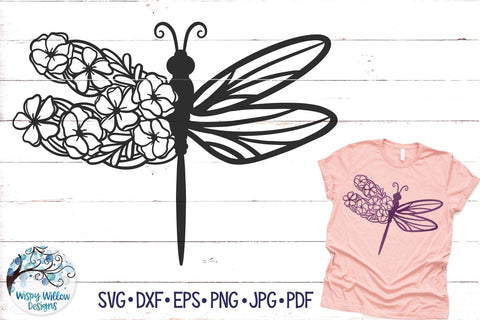 Floral Dragonfly SVG SVG Wispy Willow Designs