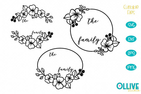 Floral Frame Family Name SVG Bundle SVG Ollive Studio