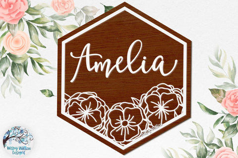 Floral Hexagon Sign for Glowforge or Laser Cutter SVG Wispy Willow Designs