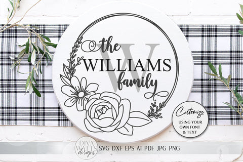 Floral Monogram SVG | Farmhouse Round Sign SVG | dxf and more! SVG Diva Watts Designs