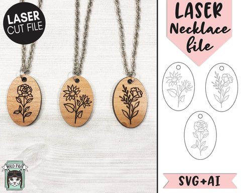 Floral Necklace Laser Cut Files, Floral Laser File, Flower Laser Cut File, Laser Necklace Cut File, Flower Keychain Laser Cut File, Charm Laser Cut File SVG Wild Pilot