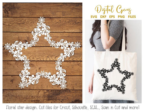 Floral star monogram frame paper cut design, SVG / DXF / EPS / PNG files SVG Digital Gems