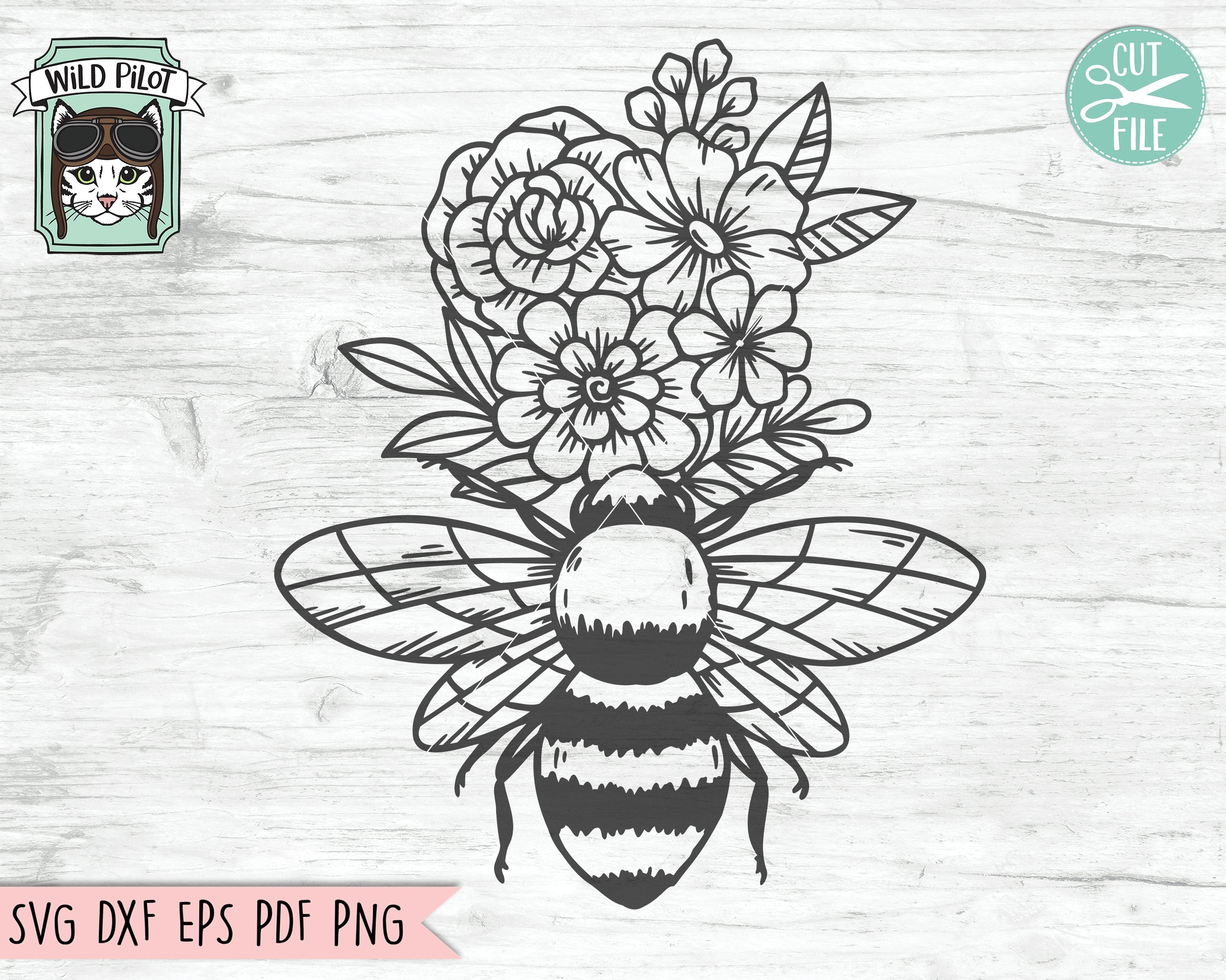 Flower Bee Svg Floral Bee Svg File Save The Bees Svg Bee Kind Svg Bee Happy Svg Bee Kind Floral Cut File Floral Bee Svg Cut File Honey Bee Svg So