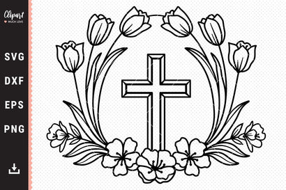 Flower Cross SVG, Floral wreath svg, Easter svg, Religious SVG, DXF, Cricut, Silhouette SVG ClipartMuchLove