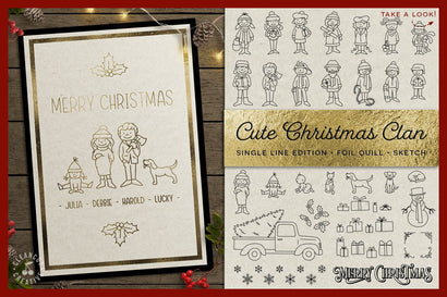 Foil Quill Edition - Cute Christmas Clan - family stick figures cartoon people SVG Sketch DESIGN CleanCutCreative