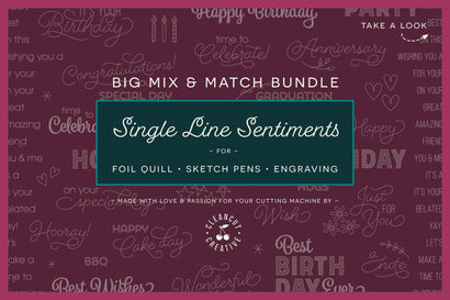 Foil Quill Mix & Match Sentiments Bundle | Single Line Sketch files SVG Sketch DESIGN CleanCutCreative
