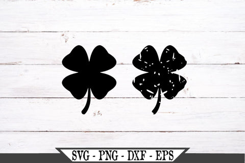 Four Leaf Clover Regular and Distressed St. Patrick's Day SVG Vector Cut File SVG My Sassy Gifts