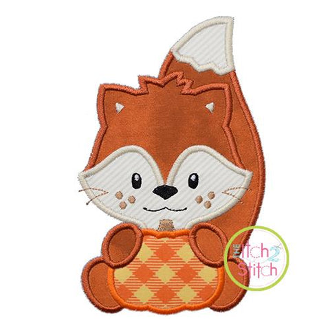 Fox with Pumpkin Boy Applique Embroidery/Applique The Itch 2 Stitch