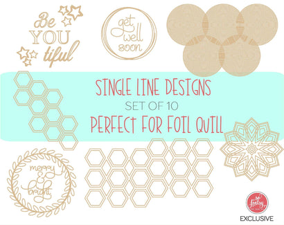 FREE - Foil Quill Starter Bundle: 10 Single Line Sketch Designs SVG So Fontsy Design Shop