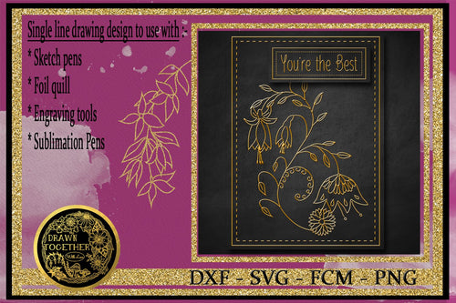 Fuchsia Scroll - Single line for Foil Quill | Digi Stamp | Sentiments