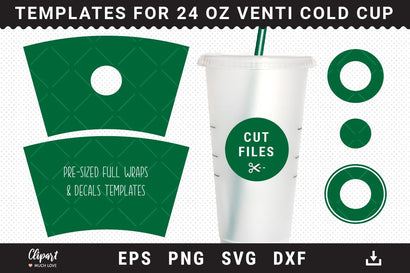 Full Wrap Venti Cold Cup 24 Oz Template, Pre-Sized Full Wraps & Decals Templates SVG ClipartMuchLove