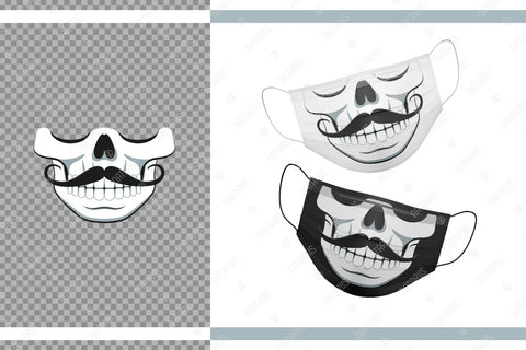 Funny skull design with Moustache for protective face mask. SVG Funny cartoon style. SVG Natariis Studio