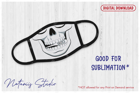 Funny skull design with Thermometer 36,5C for protective face mask. SVG Funny cartoon style. SVG Natariis Studio