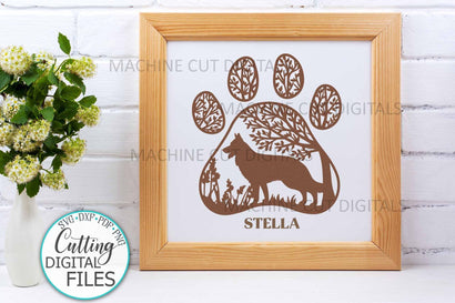 German Shepherd Paw Dog round sign svg dxf pdf cut out file SVG kartcreationii