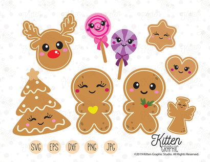 Gingerbread Christmas Clipart SVG KittenGraphic