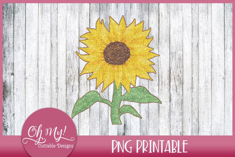 Glitter Sunflower Printable Sublimation Oh My! Cuttable Designs