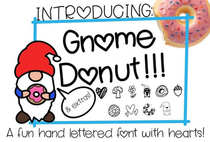 Gnome Donut - A fun handlettered font - with hearts and extras! Free SVG included SVG Twiggy Smalls Crafts