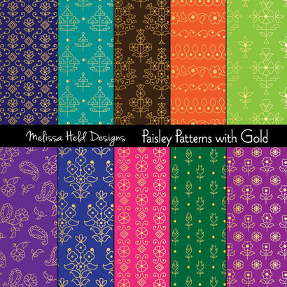 Gold Paisley Patterns Melissa Held Designs