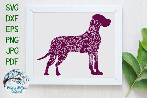 Great Dane Mandala SVG SVG Wispy Willow Designs
