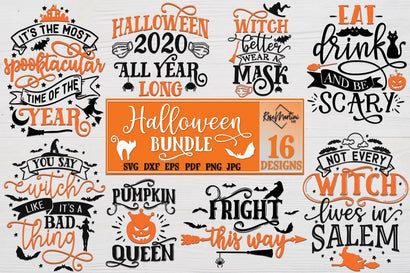 Halloween Bundle of 16 designs SVG Cricut Silhouette SVG PNG Sublimation Funny Halloween Witch Party Decorations SVG RoseMartiniDesigns