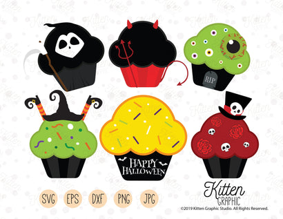 Halloween Cupcakes Cliparts SVG KittenGraphic