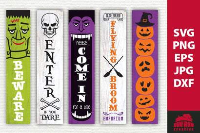 Halloween Porch Sign Bundle #2 | SVG EPS JPG PNG DXF SVG Bow Wow Creative