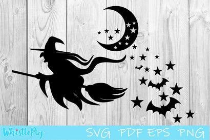 Halloween Witch Moon Stars Bats SVG Whistlepig Designs