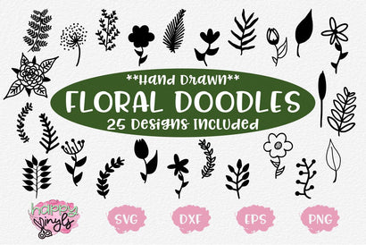 Hand Drawn Floral and Plant Doodle SVGs SVG Happy Vinyls