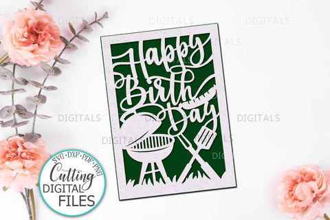 Happy Birthday card svg, Cricut Joy card svg, papercut svg, laser cut template, svg card for man, card for him, cut out summer card svg SVG kartcreationii