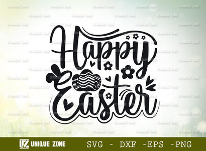 Happy Easter | Easter Bunny | Bunny Ears | Heart Shape | T-shirt Design SVG Unique Zone