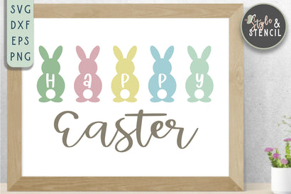 Happy Easter SVG - Easter Bunny SVG Style and Stencil