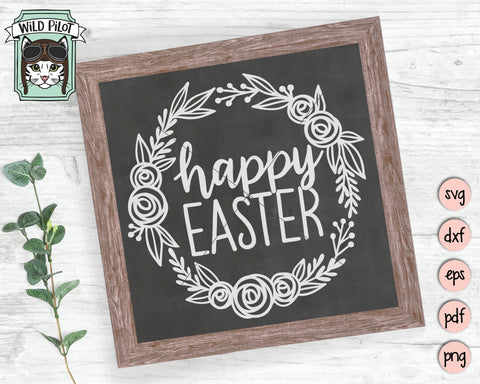Happy Easter SVG, Happy Easter sign SVG File, Happy Easter Cut File, Easter SVG Files, Easter Sign SVG, Round Spring Sign SVG, Easter Wreath SVG SVG Wild Pilot