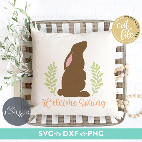 Happy Easter SVG | Welcome Spring svg | Bunny Rabbit svg | Farmhouse Sign Design SVG LilleJuniper