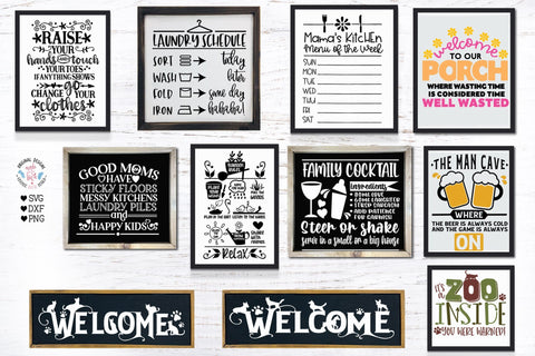 Happy Home Signs Bundle SVG Graphic House Design