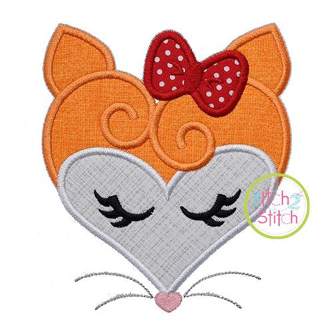 Heart Fox Face Applique Embroidery/Applique The Itch 2 Stitch