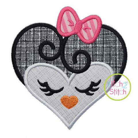 Heart Penguin Face Applique Embroidery/Applique The Itch 2 Stitch
