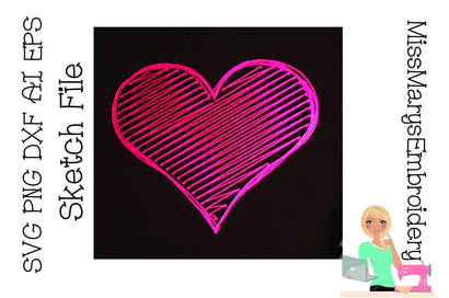 Heart Sketch File | Foil Quill | Drawing File Sketch DESIGN MissMarysEmbroidery